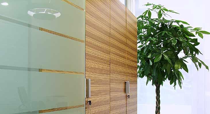 Allestimento uffici. Porta in vetro e mobili in legno
