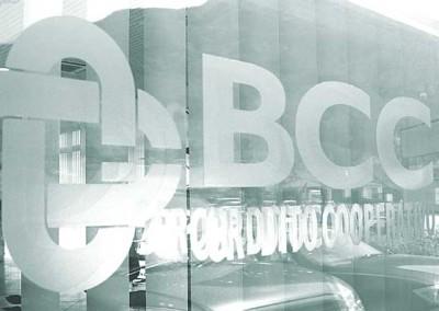 Progetto di grafica con effetto acidato su vetrina esterna. Lucca